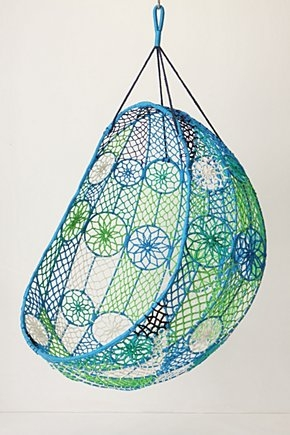 Melati blue and green hanging chair from Anthropologie